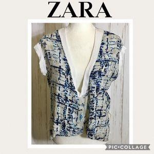 Zara Blue & White Open Slit Front V-neck Top